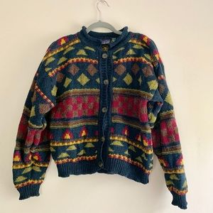 Patagonia • 100% Wool Patterned Cardigan Sweater